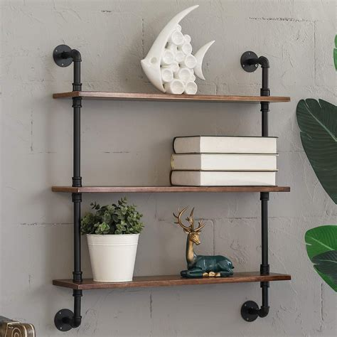 Industrial Wood Shelves Diy Pipes