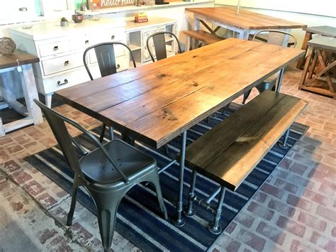 Industrial-Farmhouse-Table-And-Stools