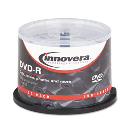 Innovera 46830 DVD-R Discs Hub Printable 4.7GB 16x Spindle Matte White 50/Pack