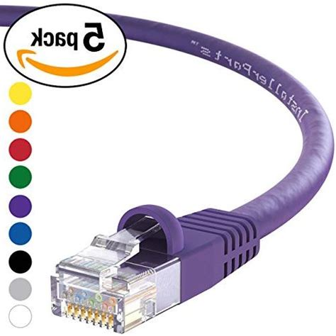 InstallerParts 5 Pack Ethernet Cable CAT6 Cable UTP Booted 25 FT - Purple - Professional Series - 10Gigabit/Sec Network/High Speed Internet Cable, 550MHZ