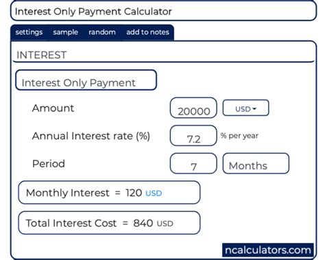 Interest Only Calculator Monthly Payment