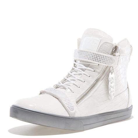 J75 Men's Zion Round Toe Rhinestone Strap Lace-up High-Top Sneaker