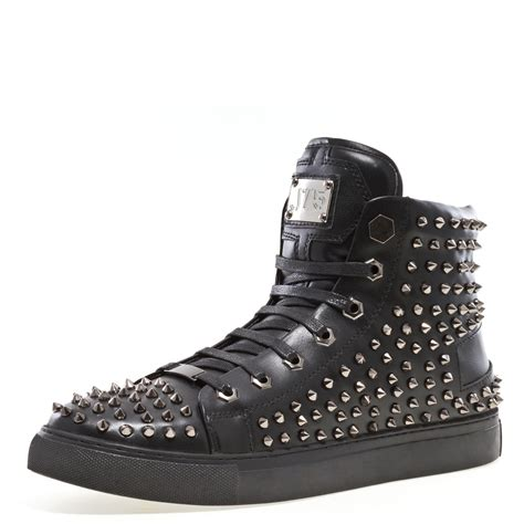 J75 by Men's Zircon Round Toe Leather Lace-up High-Top Sneaker