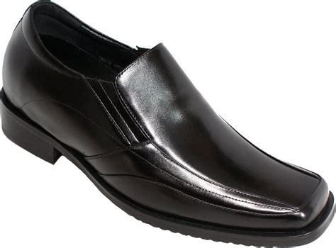 J98803-3.2 inches Taller - Height Increasing Elevator Shoes - Black Leather Slip-on Dress Shoes