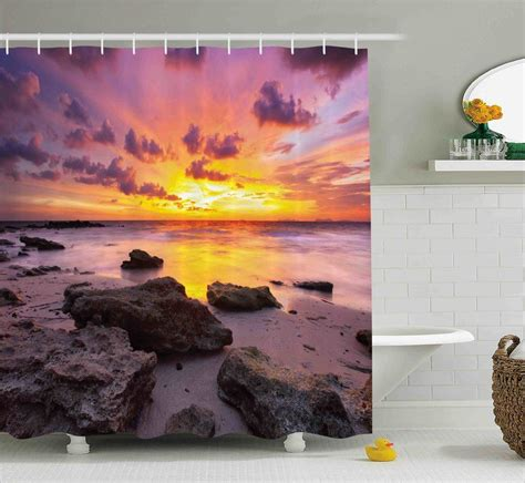 Jana Tropical Sunset At The Beach Horizon On Island Magical Idyllic Weather Landscape Shower Curtain
