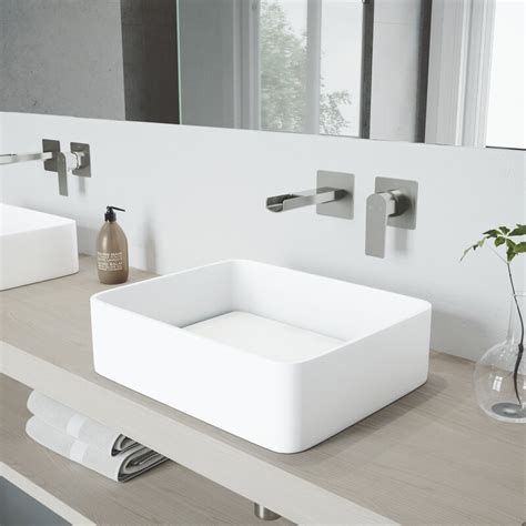 Jasmine Stone Rectangular Vessel Bathroom Sink With Wall Mount Faucet