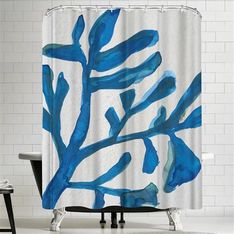 Jetty Printables Blue Watercolor Seaweed Painitng 2 Shower Curtain By East Urban Home