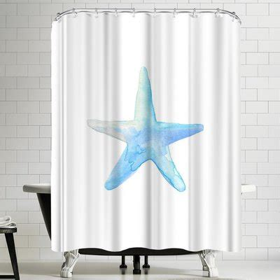 Jetty Printables Blue Watercolor Starfish Shower Curtain By East Urban Home
