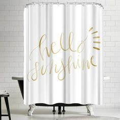 Jetty Printables Gold Hello Sunshine Typography Shower Curtain By East Urban Home