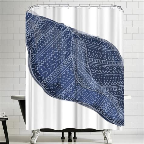 Jetty Printables Navy Blue Tribal Shell Art Shower Curtain By East Urban Home