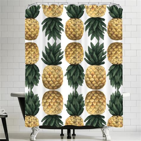 Jetty Printables Painted Pineapple Shower Curtain By East Urban Home