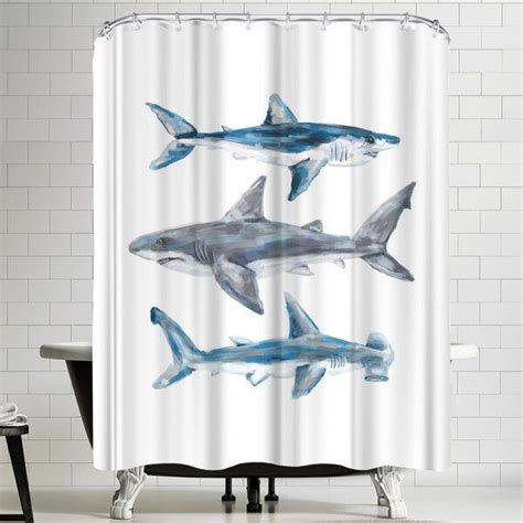 Jetty Printables Painted Shark Trio 1 Shower Curtain By East Urban Home