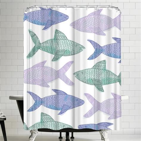 Jetty Printables Tribal Fish Pastel Shower Curtain By East Urban Home