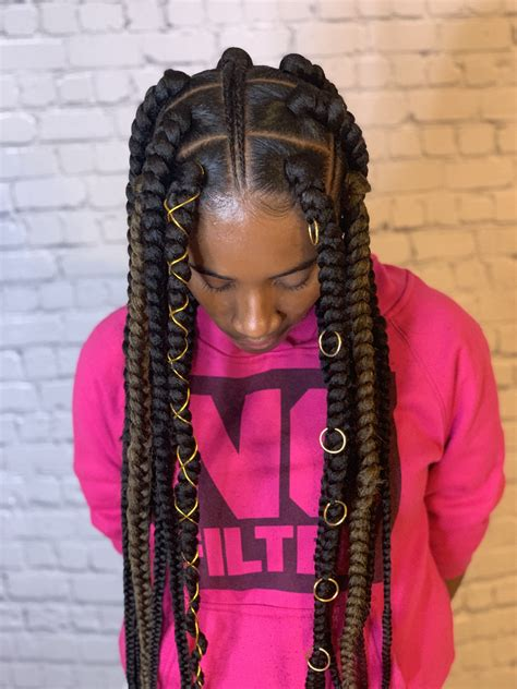 Jumbo Box Braids With Feed In