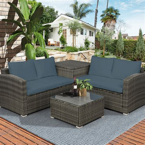 Juniper 4 Piece Rattan Sectional Seating Group With Cushions