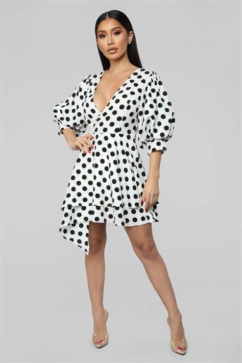 b86c5b14 Best Reviews Just The Sweetest Polka Dot Mini Dress - White/ Black ...
