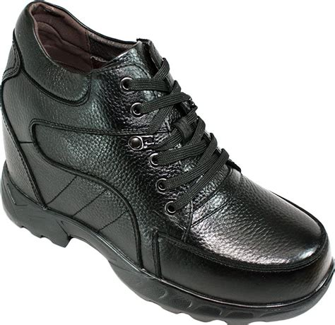K107216-5.2 Inches Taller - Height Increasing Elevator Shoes-Black Lace up Boot