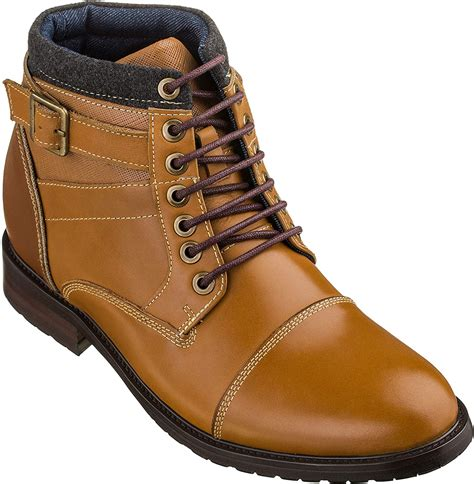 K289023-3.3 Inches Taller - Height Increasing Elevator Shoes (Brown Lace-up Boots)