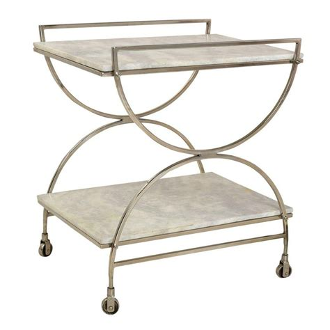 Kace Antique Nickel And Marble Castered Bar Cart