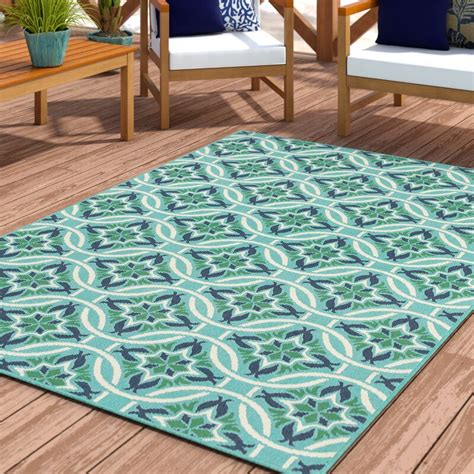 Kailani Contemporary Geometric Blue/Green Indoor/Outdoor Area Rug
