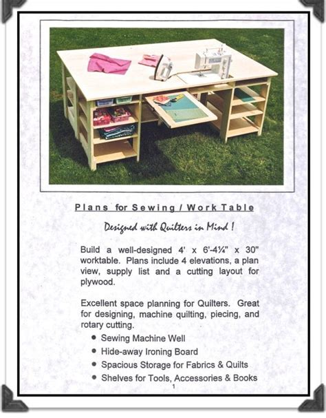 Keepsake Quilting Sewing Table Plans