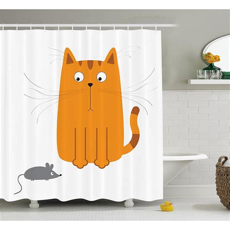 Kids Decor Cartoon Cats Shower Curtain Set