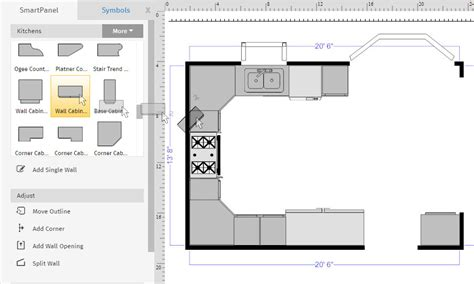 Kiktchen Floor Plan With Upper Cabinets