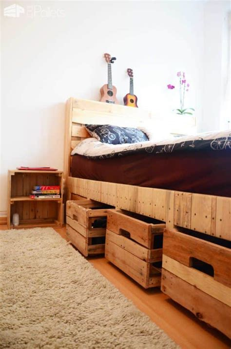 King Size Bed Storage Diy Pallet Coffee