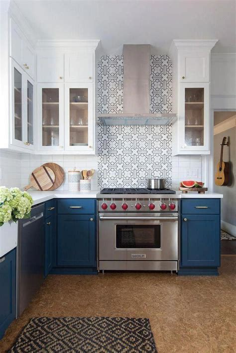 Kitchen Without Lower Cabinets Blue