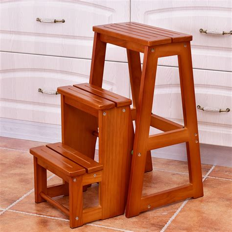 Kitchen Wooden Step Stool Chair