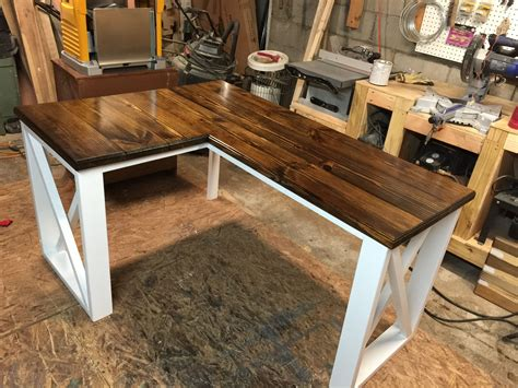 L Shaped Table Diy With Shelf