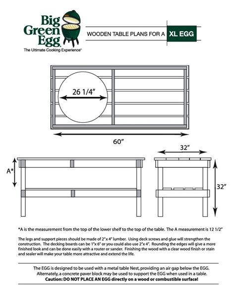 Large Green Egg Table Dimensions