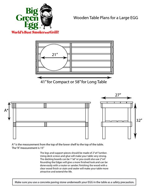 Large Green Egg Table Plans Dimensions Of A Basketball