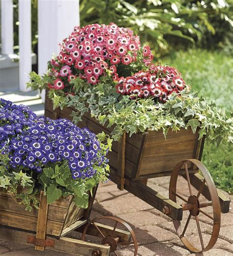 Large Wood Wheelbarrow Planter
