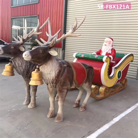 Large Wooden Sleigh And Reindeer Decoration