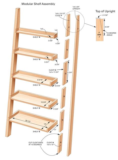 Leaning Bookshelf Woodworking Plans