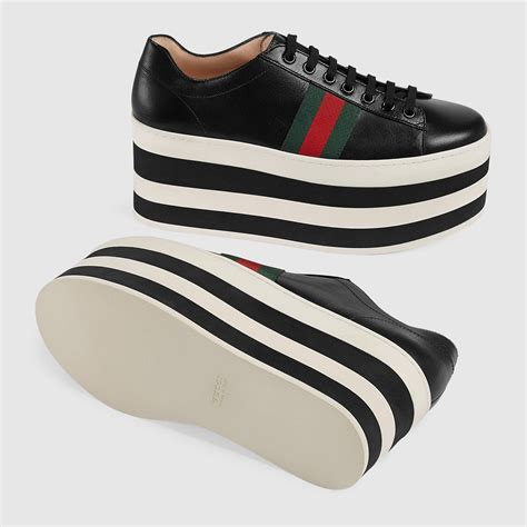 Leather Platform Sneaker Gucci