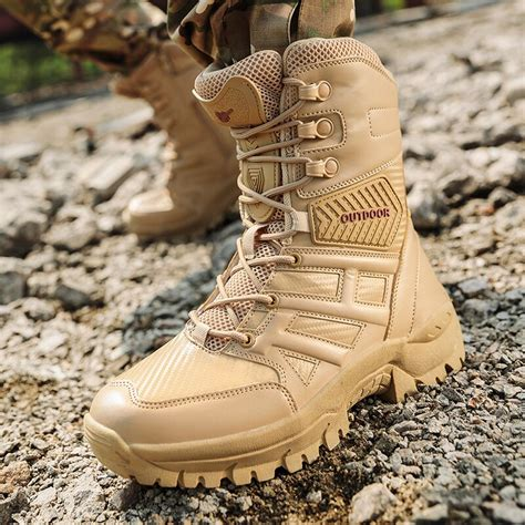 Leather Tactical Desert Combat Military Boots Mens US Army Shoes