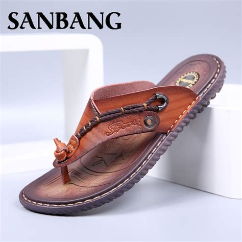 Leather summer men's slippers/White flip flops/Fashion casual sandals and slippers/Breathable sandals