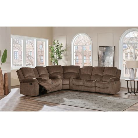 Left Facing Fabric Sectional Reclining