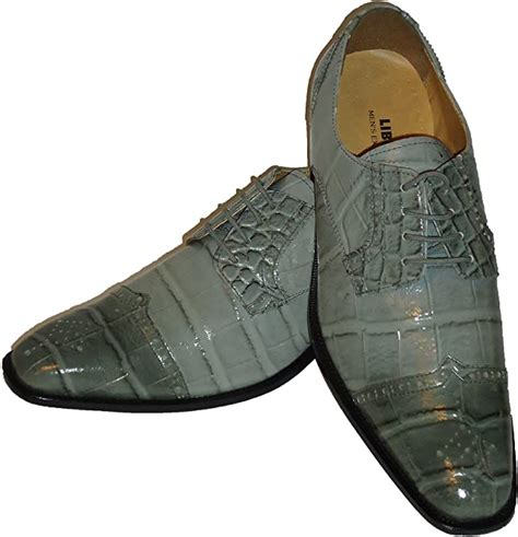 Liberty LS1046 Mens Gray Pointed Toe Exotic Embossed Dress Shoes