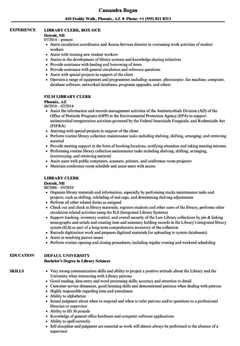 Library Clerk Resume Sample   How To Build Your Business Resume
