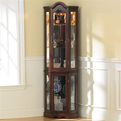 Lighted Corner Curio Cabinet Mahogany