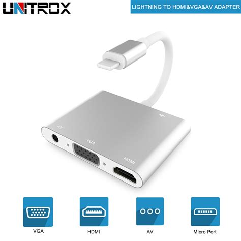 Lightning to HDMI VGA Audio Adapter, Digital AV Cables for iPhone, iPad, iPod