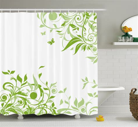Lime Butterfly Shower Curtain