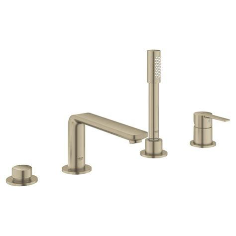 Lineare Double Handle Deck Mounted Roman Tub Faucet With Handshower