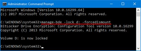 Lock Bitlocker Drive From Command Prompt