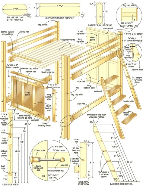 Loft Bed Woodworking Bunk Bed Plans With Stairs
