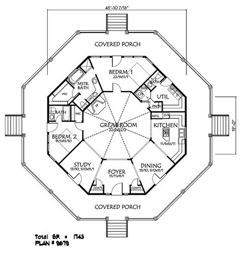 Log And Stone Hexagon House Plans