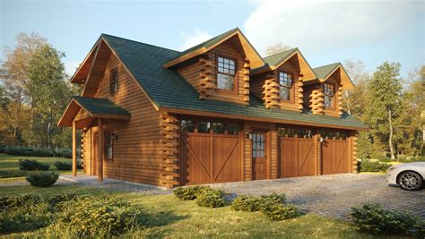 Log House Plans With Garages